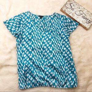 •Ann Taylor Blue & White Polyester Blouse•